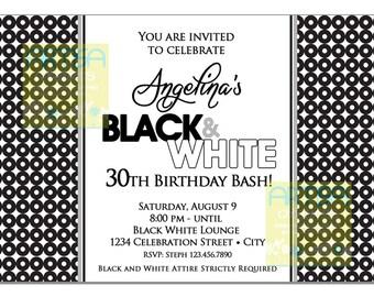 Black And White Birthday Party Invitations Invite Etsy