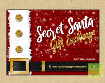 Secret Santa Invitation, Secret Santa Gift exchange invitation, Invitation Secret Santa, gift exchange invitation, Secret Santa invite DIY