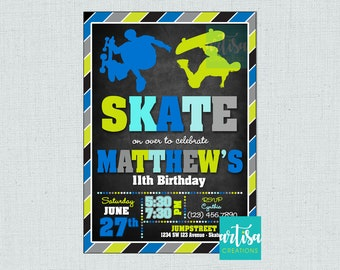 g Personalised Scooter Invitations Skateboard Birthday Party Envelopes x12