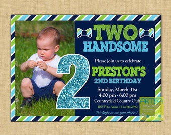 Two year old invites etsy two handsome invitation 2nd birthday invitation 2nd birthday boy invitation two handsome invite boy 2nd birthday invitation filmwisefo