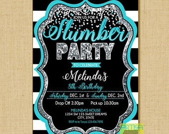 Slumber Party Invitation Sleepover Birthday Teal
