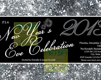 new year party invitation new years eve celebration invitation silver sparkles new year invite new years eve dinner