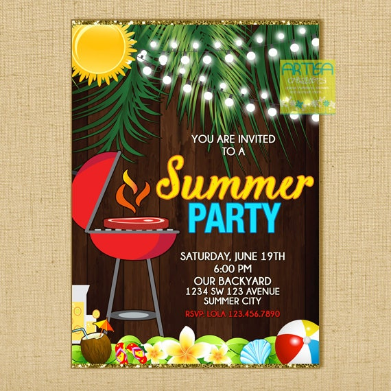 summer party invitation summer bbq summer get together etsy
