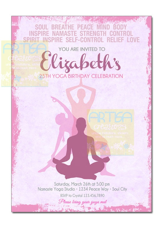 Yoga Einladung Partyeinladung Yoga Yoga Geburtstag Etsy