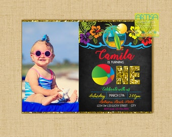 Beach Birthday Invitation, Beach Birthday Party, Kids Beach party Invitation, 1st Birthday Beach Party Invitation, Beach 1st birthday party