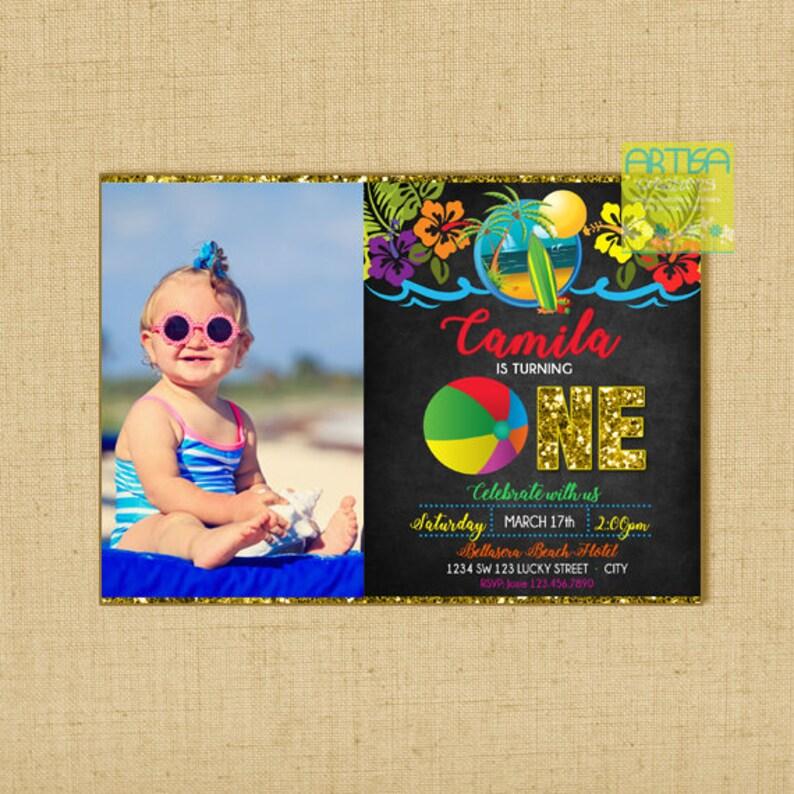 Beach Birthday Invitation, Beach Birthday Party, Kids Beach party  Invitation, 1st Birthday Beach Party Invitation, Beach 1st birthday party