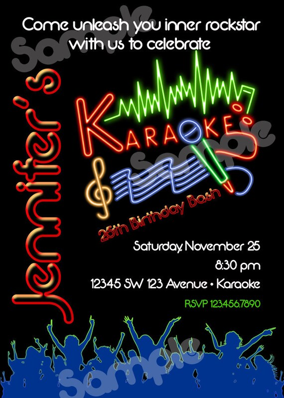Karaoke Birthday Invitation Printable File Diy Karaoke Invitation Diy Karaoke Night Karaoke Party Invitacion Karaoke Karaoke Invite