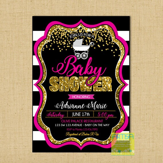 Hot pink gold baby shower invitation hot pink gold glitter etsy filmwisefo