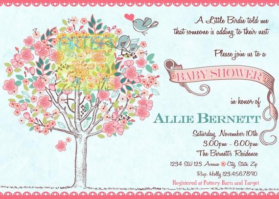 Tree birds baby shower invitation bloom birds and tree baby etsy image 0 filmwisefo