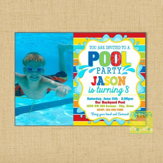 Pool Party Einladung Pool Party Einladung Geburtstag junge   Etsy