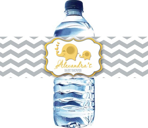 Grey and Yellow Chevron Elephant water bottle label Neutral Elephant Baby Shower Chevron Elephant  Baby Shower Water Bottle Label