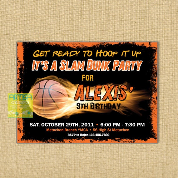Basketball Birthday Invitation Printable File DIY