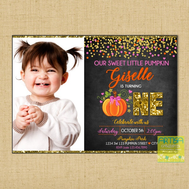 Second Birthday Pumpkin Invitation Little Gold Pink Invite 2 Years Old Invi