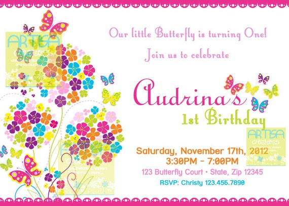 Butterfly Invitation  - Bright Color Butterflies Birthday Invitation - Butterfly Birthday Invitation - Summer Butterflies and Flowers