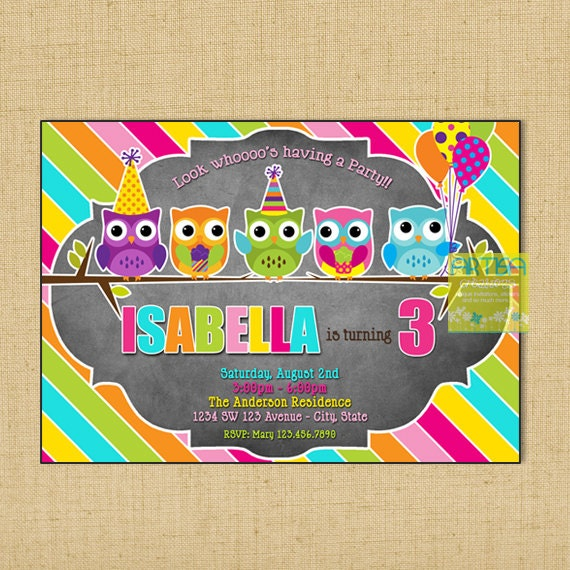 Owl Birthday Invitation Colorful Owl Birthday Invitation Diy Etsy