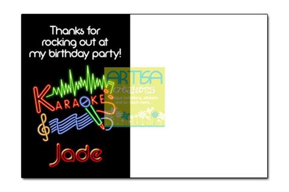 Karaoke Gracias Tarjeta Imprimible Archivo Diy Cumpleaños Karaoke Gracias Karaoke Gracias Tarjeta De Nota Gracias En Blanco Karaoke Fiesta Karaoke