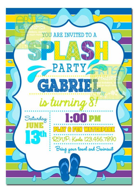 Splash Party Invitation Pool Party Birthday Invitation Boy Etsy
