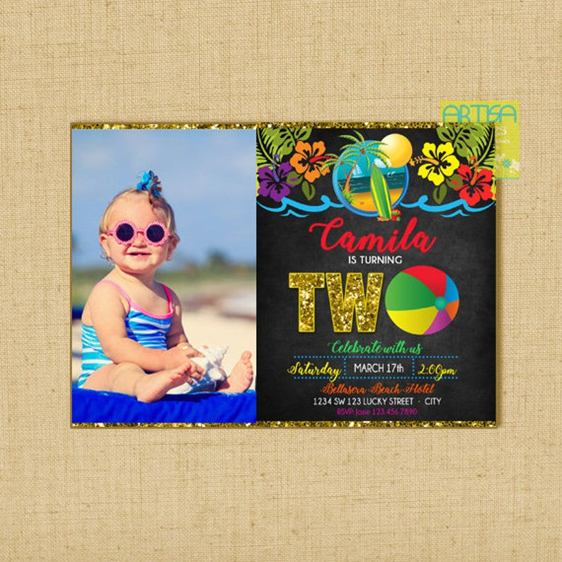 Beach Birthday Invitation Party Kids 2nd Part