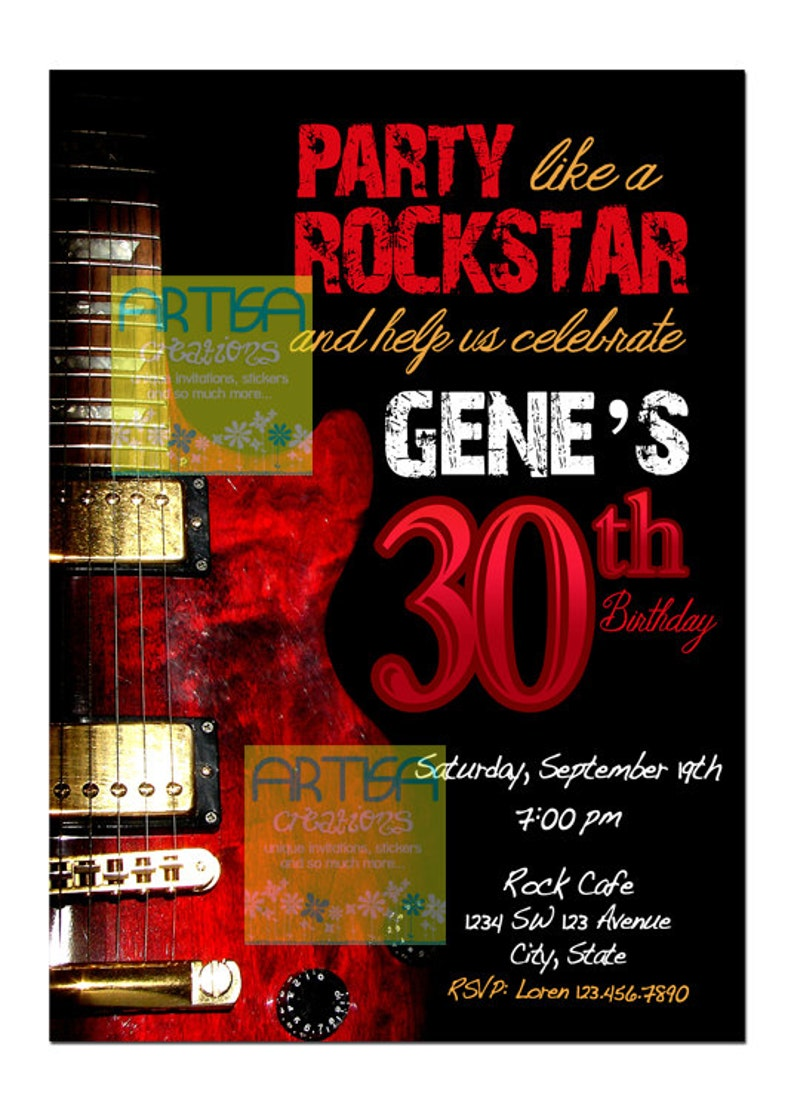 Rock Adult Birthday Invitation And Roll