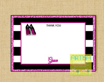 High heels Thank You Card, Black Heels Thank You Note, Black heels note card, heels personalized thank you card, personalized stationery