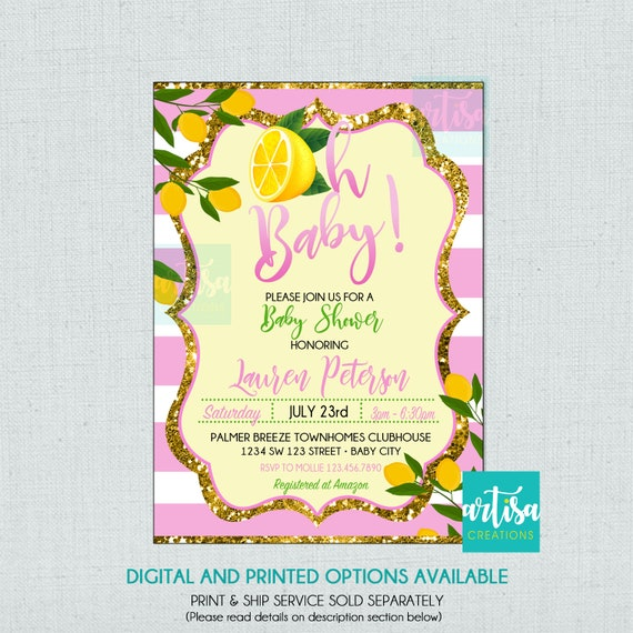 Lemon Baby Shower Invitation Lime Baby Shower Invitation Etsy