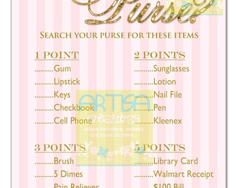 Blush and Gold Baby Shower Game, Blush Glittery Gold What is in your purse game, Pink Gold Purse Game, Gold and Pink purse game baby shower