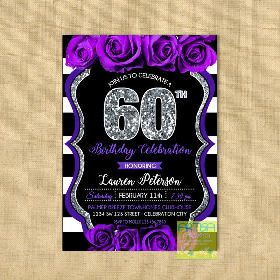 60th Birthday Invitation Purple Roses 50th