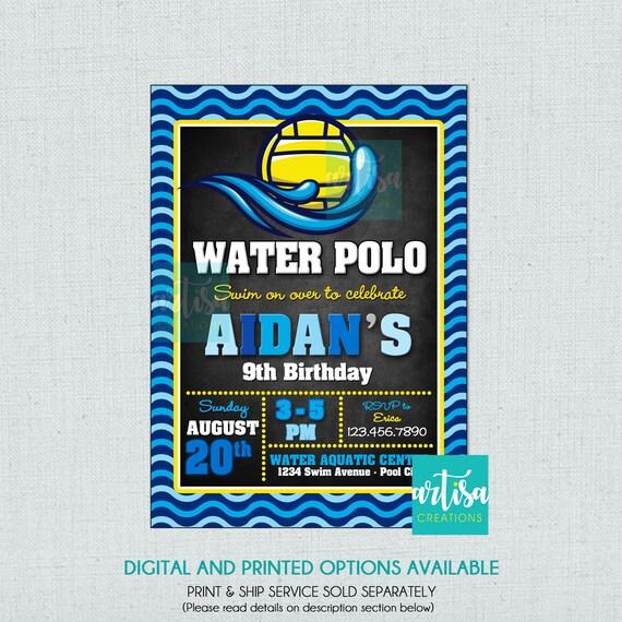 waterpolo invitation Water Polo invitation water polo invitation DIY water polo birthday invitation water polo birthday invitation