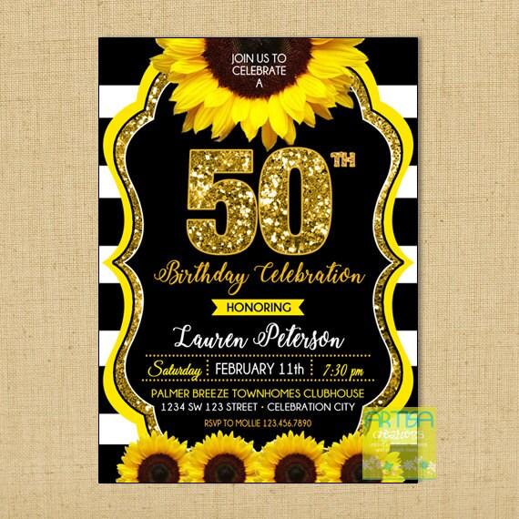 50 Invit Invitación Cumpleaños Girasol 50 Aniversario Oro De Invitación Girasol De Cumpleaños 50 Invitación Girasol Brillo 50 Aniversario