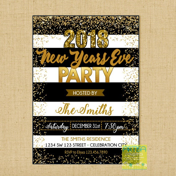 New Year S Eve Party Invitation Gold Black New Year Eve Etsy