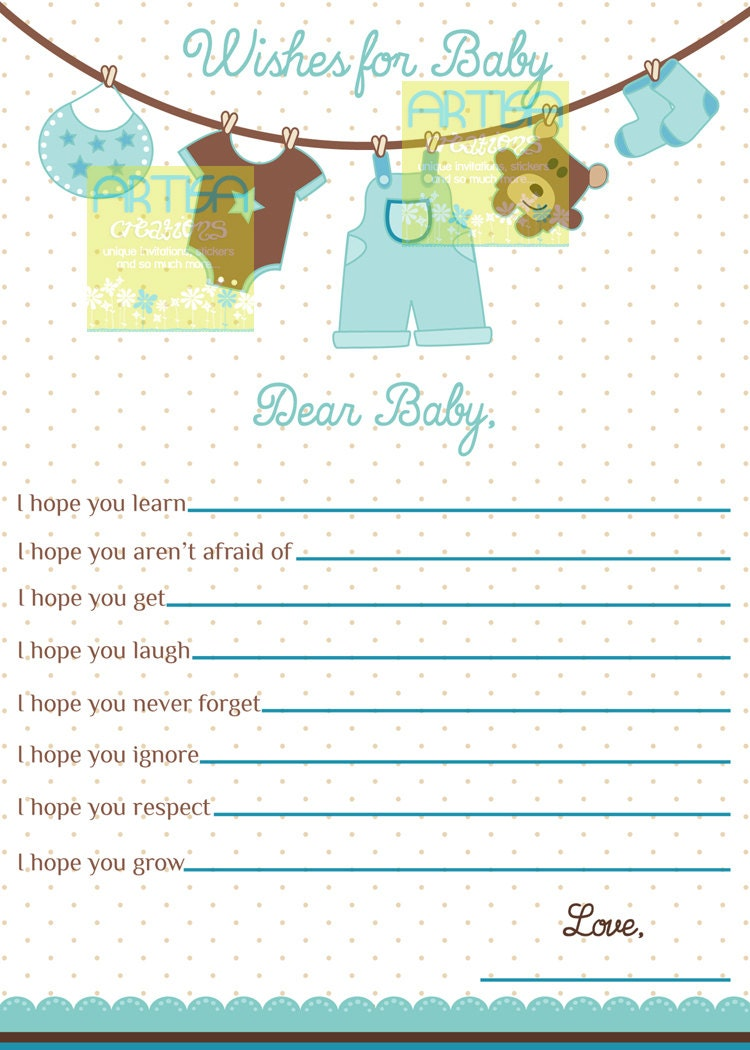 Wishes For Baby Card Boy Baby Shower Wishes For Baby Boy Etsy