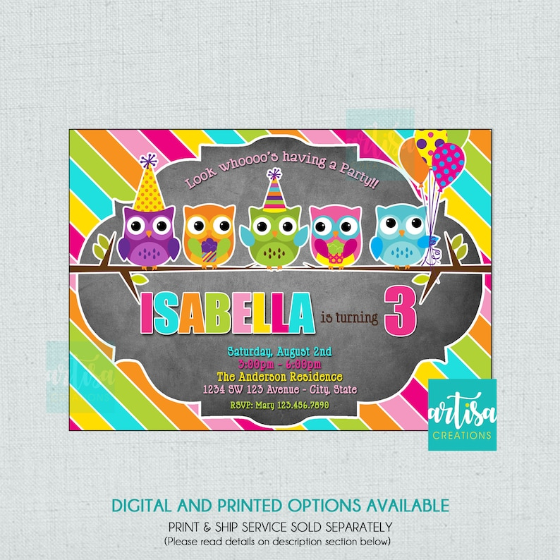 Owl Birthday Invitation Colorful DIY
