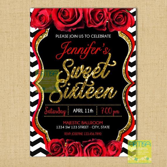 red roses sweet sixteen invitation sweet sixteen invitation etsy