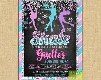 Ice skate invitation Etsy