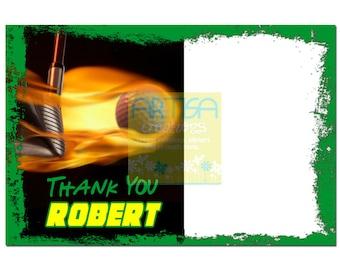 Golf Thank You Card - Fire Golf Thank You Card - Golf Ball Note Card - Golf Stationery - Thank You Golf Card - Personal Thank you Card Golf