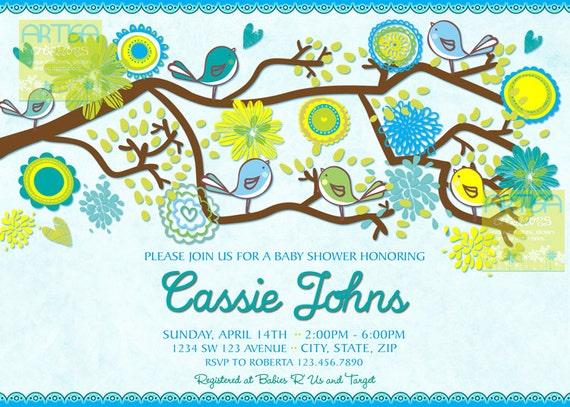 Birds baby shower invitation spring baby boy shower etsy image 0 filmwisefo