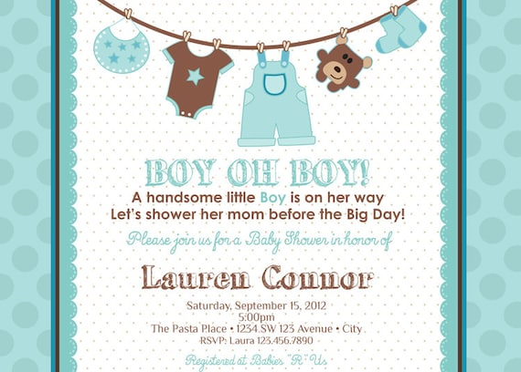 Boy Baby Shower Thank You Card Baby Boy Shower Thank You Etsy