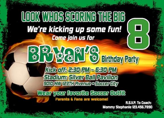 Voetbal Verjaardag Uitnodiging Afdrukbaar Bestand Diy Soccer Etsy