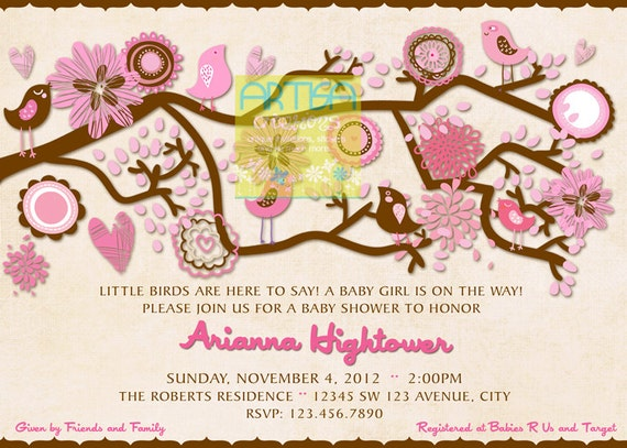 Birds Baby Shower Invitation Pink And Brown Baby Shower Etsy
