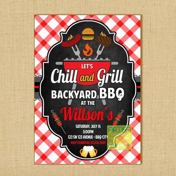 grill and chill invitation grill and chill bbq invitation. Black Bedroom Furniture Sets. Home Design Ideas