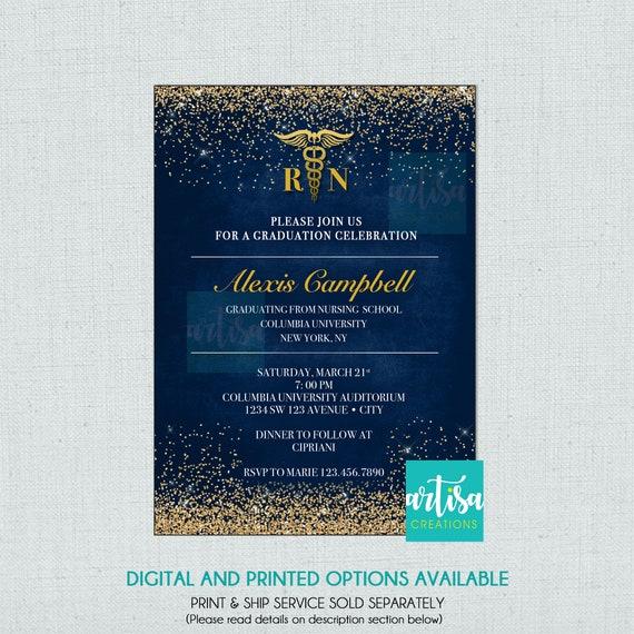 Nursing Graduation Invitation Rn Graduation Invitations Etsy