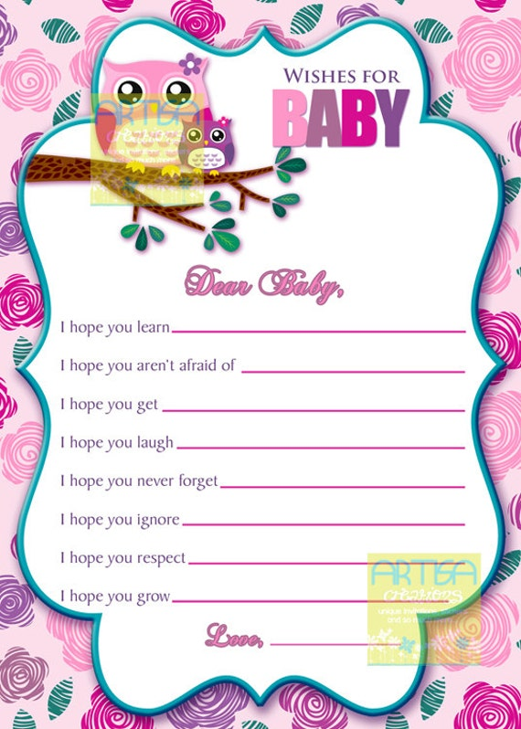 Pink Owl Wishes For Baby Card Owl Baby Girl Wishes Card Etsy