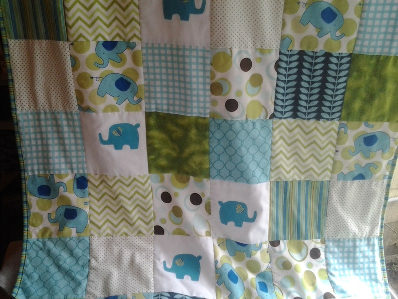 Elephant Baby Quilt Elephant Nursey Bedding Turquoise and Green Crib Quilt Turquoise Elephant Nursery Quilt Elephant Minky Quilt