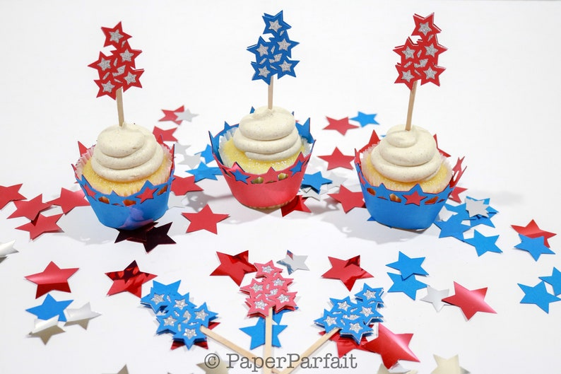 Shooting Stars Cupcake Toppers- Cupcake Picks- Cupcake Decoration~Red &  Blue~Glitter~4th of July~July Fourth~Independence Day~Patriotic