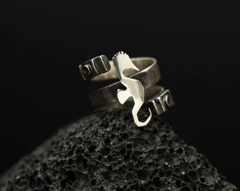 Sea Horse Motive Sterling Silver Ring | Open Size Adjustable Ring | Conceptual Jewelry | Five Elements