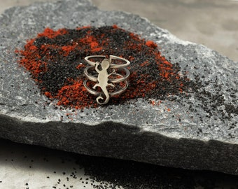 Salamander Triple Ring | Nature Elements | Sterling Silver Jewelry | Unique Gift for her