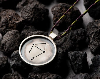 Libra Pendant in Frame   Constellations Unisex Necklace   Zodiac Signs   Symbolic Jewelry   Unisex Unique Gift