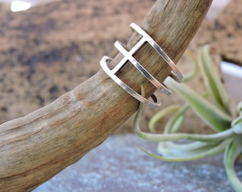Triple Ring, Adjustable open size, Solid silver 925