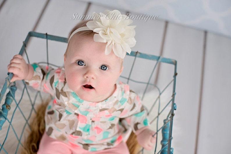 Infant Headband Ivory Headband Baby Headband Newborn Headband Fluffy Chiffon Petal Flower Ivory Baby Headband