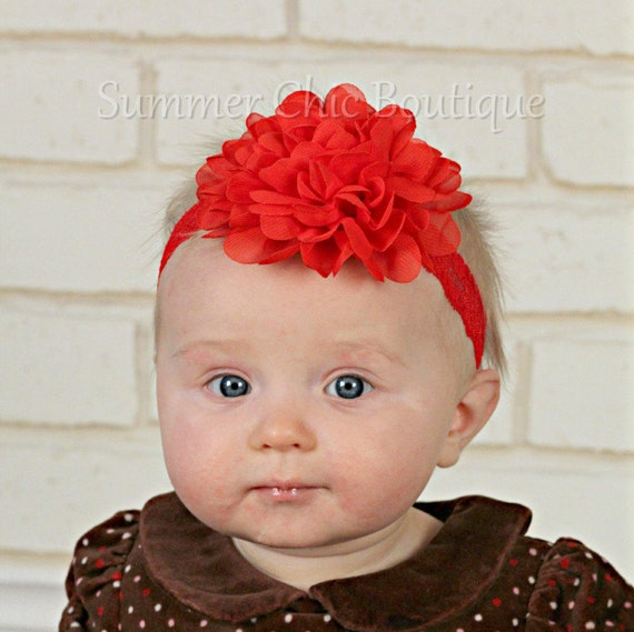 Flower Girl Headband Baby Girl Headband Valentine/'s Headband Red Headband Red Baby Headband Red Lace Headband Newborn Headband